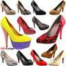 Ladies Womens Party Prom Bridal Evening Fashion High Heel Court Shoes Size 3-8