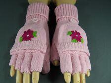 Pink flower convertible flip open thumb mittens fingerless gloves texting
