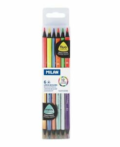 MILAN Set 6 triangular double-ended pencils fluo colous &metallic colours