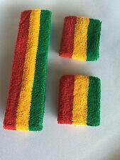 Green Yellow Red Stripe Sports Unisex Cotton HeadBand WristBand Sweatband Set