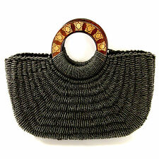 Coldwater Creek Black Purse Woven Straw Wood Handles Medium Bag Handbag Tote