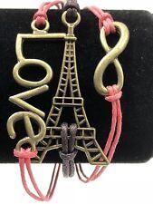 Bracelet Friendship Womens Adjustable Eiffel Tower Infinity Love Theme Pink New