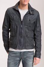 J.C. RAGS GENUINE BLUE Leather BIKER STYLE Jacket  L FRONT ZIP PATCH POCKETS