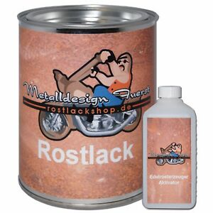 Set 1kg Rostlack Ratlook + Aktivator rust paint Rostpatina Autolack Rostdecko