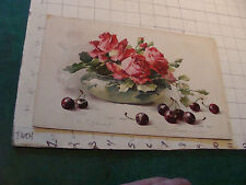 1800's Raphael Tuck STUDY OF RED ROSES AND CHERRIES by C. Klein Chromolitho