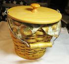Longaberger 2002 Autumn Pail Basket with Wood Lid & Knob , Liner, Protector- EUC