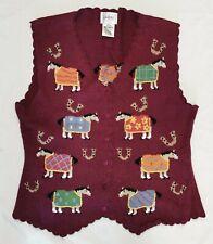 Womens Millers Equestrian Knit Vest Horse Pattern Button Front Sz M