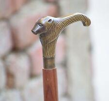 Designer Antique Brass Animal Head Handle Wooden Walking Cane Stick Great Gift