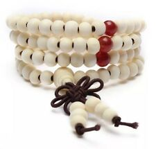 Tibetan Sandalwood Buddhist Prayer Beads Bracelet 108 Piece White US Seller