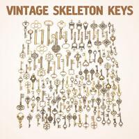 Set of 125 Antique Vintage Old LookBronze Skeleton Keys Fancy Heart Bow Pendant