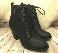 Womens Atmosphere Black Laced Front Zip Up High Heel Ankle Boots UK 5 EUR 38
