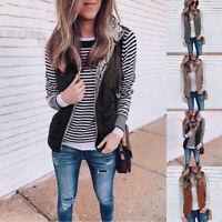 Womens Warm Fleece Zipper Reversible Vest Sleeveless Lightweight Jacket Tops New