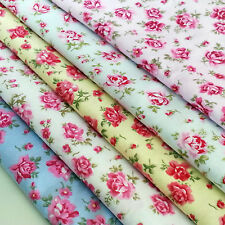 Roses Fabric Floral 100% Cotton  Material Vintage Metre Chic Craft Quilting 44""