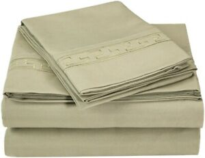 Twin Superior Regal Embroidered Greek Key Microfiber Sheet Set 3- Piece Sage
