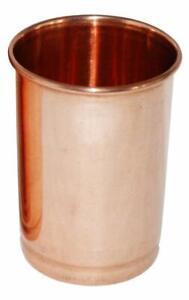 Ayurvedic Set of 2 Copper Glass Tumblers Leak Proof Seamless Ayurvedic Use