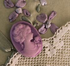 ~Vintage Acrylic Cameo~28x22mm Button~Classic Style~Frosted Lavender~For >^..^<