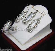 Fashion Women's Jewelry Natural White Biwa Pearl Pendant Earrings Ring Set