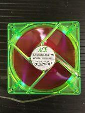 ACE 120mm case fan - RED FAN  w/GREEN FRAME UV REACTIVE