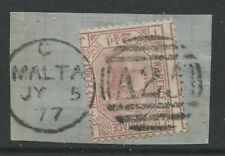 GB Used Abroad 1876 2 1/2d Plate 17 IJ on piece struck by a Malta numeral A25