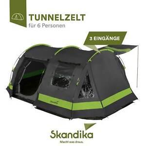 Skandika Kambo 6 Tente Tunnel Familiale Camping 6 pers.480 x 360 cm Gris NEUVE