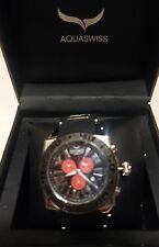 AQUASWISS Chronograph SWISSport Swiss Watch silver black red New
