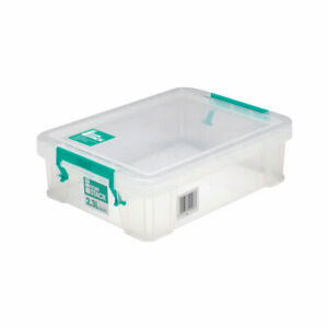 Storage Box Clear Store Stack With Lid that Clips on by Handles Various Sizes