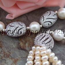 "H091103 22"" 2 Strands White Pearl Necklace CZ Pendant"