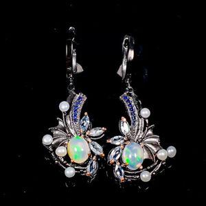 9x7mm Beauty Rainbow SET Opal Earrings Silver 925 Sterling   /E57938