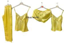Women's Soft Satin Sleeveless Top Short & Bottoms 3 PC PJ Set Summer Nightdress