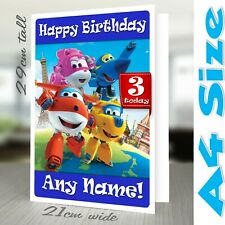 SUPER WINGS Birthday Card Personalised A4 Daughter Son Girl Boy Friend Party