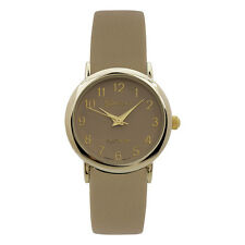 Geneva Women's Quartz Yellow Gold Stainless Steel Brown Leather Watch 9765TAN