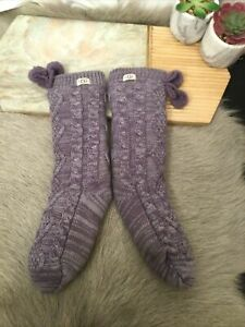 UGG Pom Fleece Lined Crew Socks Color Purple One Size(15)