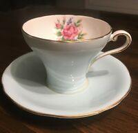 Aynsley Corset Shape Cup and Saucer Pastel Blue Pink Rose Bone China Beautiful
