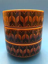 Set (3) Vintage Hornsea England 1976 Heirloom Cereal Soup Bowls Brown Flowers