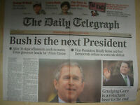 VINTAGE NEWSPAPER DAILY TELEGRAPH DECEMBER 14th 2000 BUSH IS THE NEXT PRESIDENT