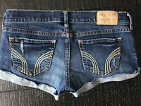 Hollister  Cuffed Ripped Denim Blue Jean shorts size 0 24