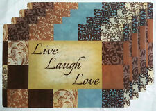 NEW LIVE LAUGH LOVE FLORAL PAISLEY GEO 4 PLASTIC PLACEMATS SET KITCHEN DECOR