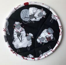 New listing Handmade Knitter Knitting Sheep Ewes Quilted Pot Holder - Stocking Stuffer!