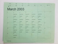DAWSON'S CREEK set used paperwork ~ PRODUCTION CALENDAR schedule page ~ Mar 2003