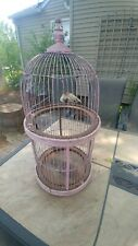 Large old bird cage, metal and wood, pink