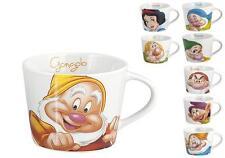 SET 8 PEZZI TAZZINE CAFFE' IN CERAMICA ORIGINALE DISNEY BIANCANEVE E 7 NANI NEW