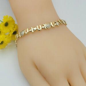 14K Gold Plated Fashion Clear Crystal I LOVE YOU Bracelet. Oro Laminado