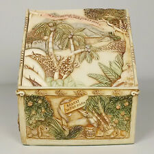 Vtg Harmony Kingdom Picturesque Noah's Hideaway Box w Tile Cover Illinois Sgn 4x