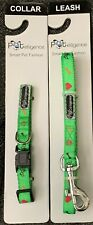 "PETELLIGENCE XS (TOY 3/8"" WIDE) GREEN COLLAR WITH SYMBOLS & MATCHING LEASH"