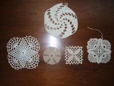 """New listing Lot of 5 Antique Hand Crochet Doily Placemat Ecru Off White Cream-4.5"""" to 2.25"""""""