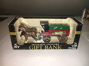 Ertl Horse Drawn Covered Wagon Die Cast Holiday Delivery Bank