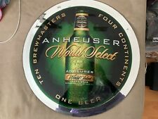 "Anheuser Busch World Select Beer Sign / Mirror 23"" Round - Rare"