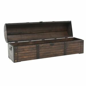 Wooden Chest Solid Wood Storage Vintage Style Living Room Office Trunk Handles