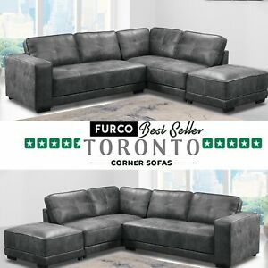 Toronto Grey Large Leather Corner Sofa With Footstool | Best Seller