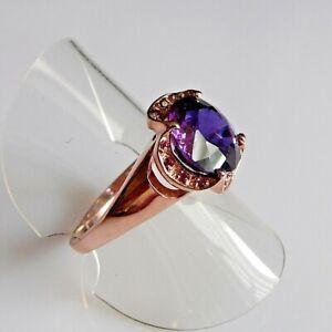 Handarbeit Lila Saphir Rubin Cocktail Ring 925 Silber Rotgold 17,8 mm 56